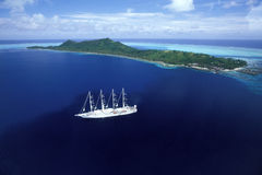 Windstar. Bora-Bora Island - French Polynesia - The windstar ship Stock Photography