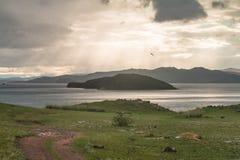 Windstorm over Baikal lake. Maloe more, Russia Royalty Free Stock Photos