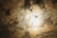 Windstorm sky with sunshine. Dark colored windstorm sky with sunshine Royalty Free Stock Photos