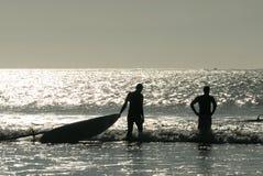 Windsurf. Surfers in the ocean, Essaouira, Morocco Stock Image