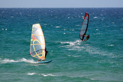 Windsurf 4. Two men doing windsurf in a beachn in Spain stock photography