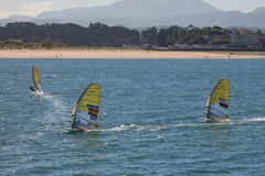 Windsurf in the bay of Santander, Spain. Windsurf champioship in the bay of Santander, Spain Stock Photos