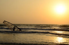 Windsurf. On the beach, sun and water, sea royalty free stock photography