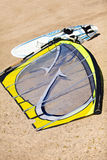 Windsurf Board. Wind surf board on the beach and Sail Royalty Free Stock Photo
