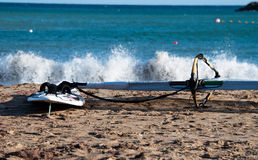 Windsurf Board On The Beach Royalty Free Stock Photography