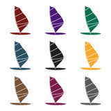 Windsurf board icon in black style isolated on white background. Surfing symbol stock vector illustration. Royalty Free Stock Photography