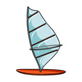 Windsurf board icon in cartoon style isolated on white background. Surfing symbol stock vector illustration. Stock Photo