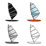 Windsurf board icon in cartoon style isolated on white background. Surfing symbol stock vector illustration. Royalty Free Stock Images