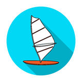 Windsurf board icon in flat style isolated on white background. Surfing symbol stock vector illustration. Stock Photography