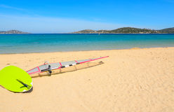 Windsurf board on the sand in Porto Pollo Stock Image