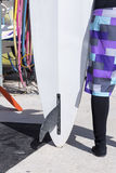 Windsurf board and a surfer girl Stock Images