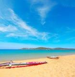 Windsurf boards in Porto Pollo beach Royalty Free Stock Photo