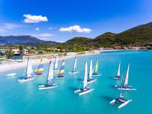 Windsurf boats in Vasiliki, Lefkada Greece Ioanian Island. Lefkada island is a very popular travel destination for tourists in Greece in the summer and is also stock photos