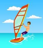 Windsurf del hombre en el mar libre illustration