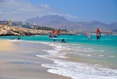 Windsurf en Canarias de Fuerteventura Foto de archivo