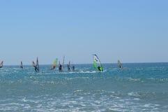 Windsurf in Griekenland Zonnige dag stock afbeelding
