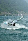 Windsurf jump. Jump jibe stock photo