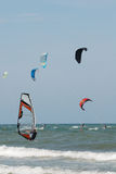 Windsurf and Kitesurf 2. Windsurf and Kitesurf in a windfull day in Riccione adriatic coast stock image