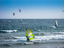 Windsurf and kitesurfing Royalty Free Stock Images