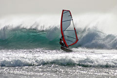 Windsurf las americas. Windsurfing in impressive waves Royalty Free Stock Photography