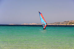 Windsurf in mediterranean sea. Windsurf in beautiful beach of mediterranean sea Stock Image