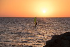 Windsurf in Mediterranean Sea at sunset.Tel-Aviv. Israel stock image