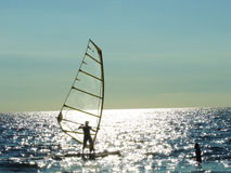Windsurf. In a sunny day stock photo