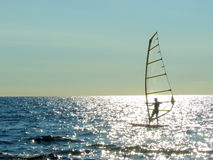 Windsurf. In a sunny day royalty free stock photos