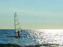 Windsurf. In a sunny day stock images