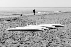 Windsurf tables on the sand. In a mediterranean beach stock photography