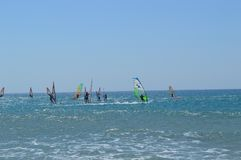 Windsurf w Grecja s?oneczny dzie? obraz stock