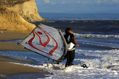 Windsurf on waves. Royalty Free Stock Image