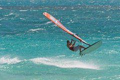 Windsurf in the waves Stock Photos