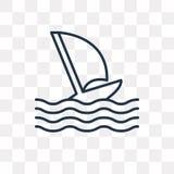 Windsurf wektorowa ikona odizolowywająca na przejrzystym tle, liniowym ilustracja wektor