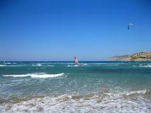 Windsurfe em Prasonisi, o Rodes, Grécia Fotografia de Stock