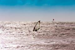 Windsurfe, por do sol Foto de Stock Royalty Free
