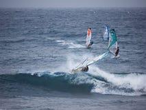 Windsurfen an Hookipa-Strand Maui Lizenzfreies Stockfoto