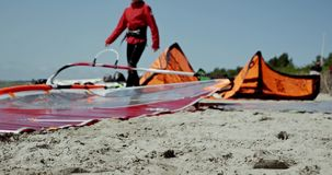 Windsurfen-Strand-Sand 4k stock footage