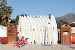 Windsurfenbretter in einem Gestell Stockfoto