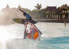 Windsurfensitzung in Siam-Park PWA2014 Teneriffa Lizenzfreies Stockbild