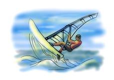 Windsurfer στο κύμα Διανυσματική απεικόνιση