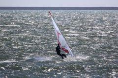 Windsurfer ехать его доска Стоковые Фото