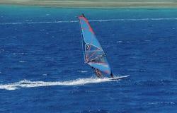 Windsurfer на доске под ветрилом двигает на скорость вдоль поверхности моря, на фоне волн Стоковое Изображение
