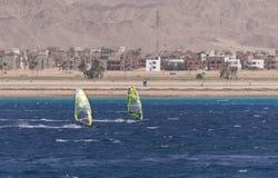 Windsurfer на доске под ветрилом на фоне моря, ветра и волн Стоковые Изображения RF
