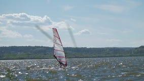 Windsurfer на озере видеоматериал