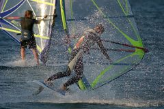 Windsurfer. In trouble Royalty Free Stock Photo