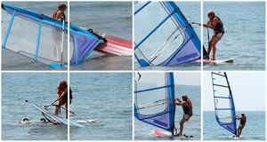 Windsurfer in action. Windsurfer leaving from the beach. Lesson of windsurf Stock Images