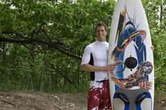 Windsurfer at the beach Stock Photo