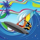 Windsurfer on Big Ocean Wave. Windsurfer playing with wind and the Perfect Big Ocean wave. Cowabunga Dude! Original Vector Graphic Art under BluedarkArt Stock Images
