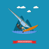 Windsurfer on the board with sail, flat design Royalty Free Stock Photo